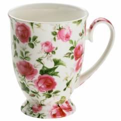 ROYAL OLD ENGLAND Becher auf Fuss Frühlingsrose, Bone China Porzellan, in Geschenkbox