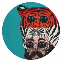 MULGA Untersetzer rund, 10,5 cm, Tiger Man, Keramik - Kork