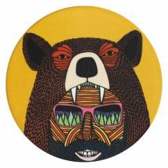 MULGA Untersetzer rund, 10,5 cm, Bear Man, Keramik - Kork