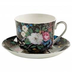 KILBURN Frühstückstasse mit Untertasse Midnight Blossom, Bone China Porzellan, in Geschenkbox