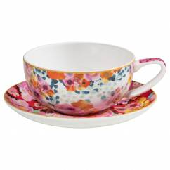 BLOEMS Tasse mit Untertasse Weiß/Rot, Bone China Porzellan, in Geschenkbox