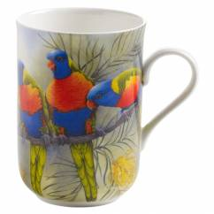 BIRDS OF AUSTRALIA Becher Loris, Bone China Porzellan, in Geschenkbox