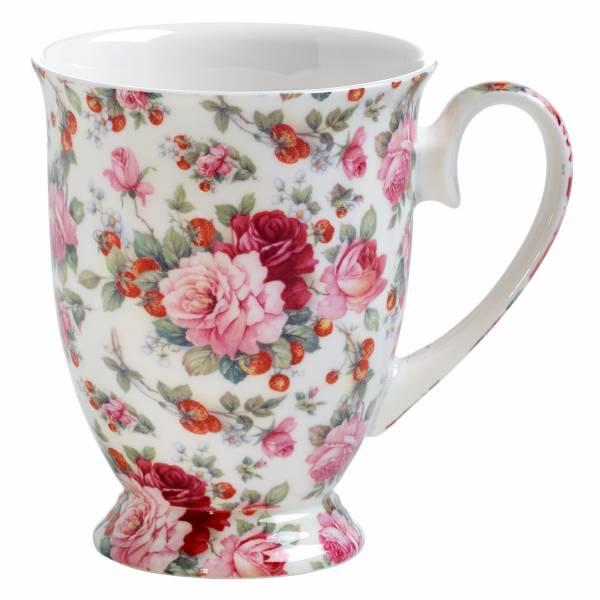 ROYAL OLD ENGLAND Becher Sommerrose, Bone China Porzellan, in Geschenkbox