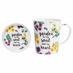 ROYAL BOTANIC GARDEN Becher mit Untersetzer Soul Heart, Bone China Porzellan, in Geschenkbox