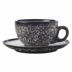 CAVIAR GRANITE Tasse mit Untertasse, Premium-Keramik