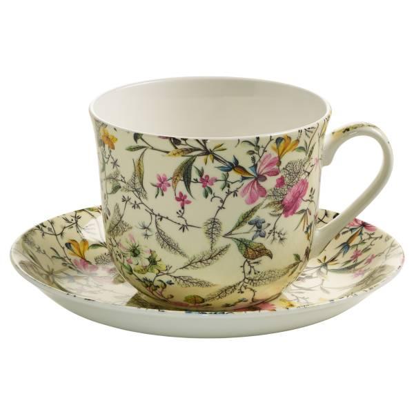 KILBURN Frühstückstasse mit Untertasse Summer Blossom, Bone China Porzellan, in Geschenkbox
