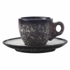 CAVIAR GRANITE Espressotasse mit Untertasse, Premium-Keramik